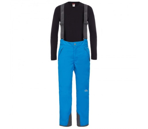 Pantaloni The North Face B Snowquest Suspender Albastru