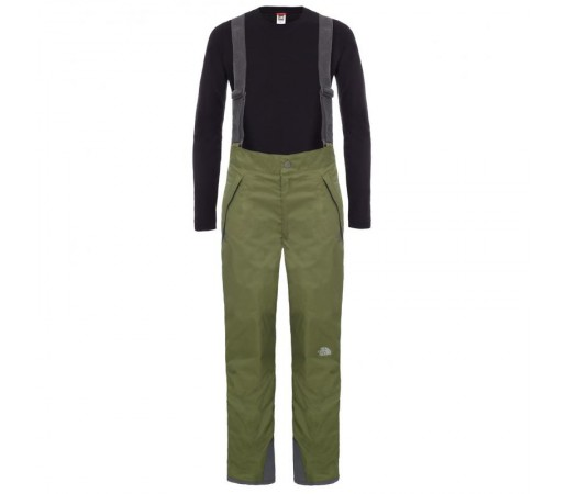 Pantaloni The North Face B Snowquest Suspender Verde/Negru