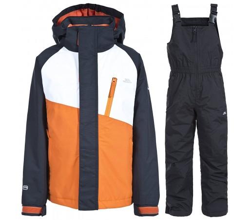 Set schi Trespass Crawley Carrot Kids Negru/ Portocaliu/ Alb