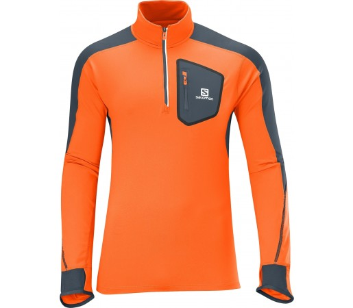 Midlayer Salomon Trail Runner Warm LS Zip Orange