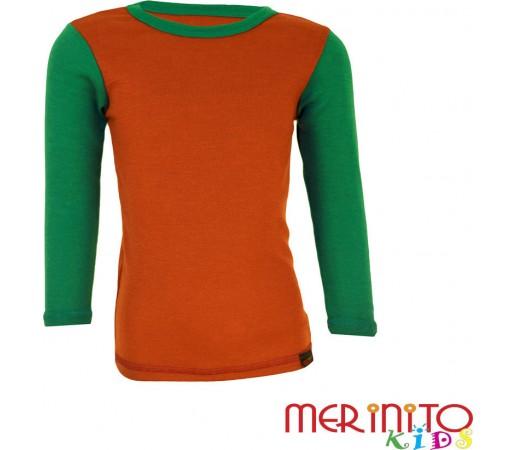 Tricou copii Merinito maneca lunga Portocaliu/Verde