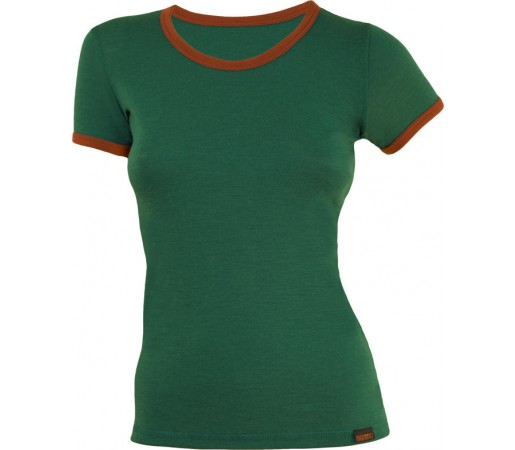 Tricou Merinito Dama Verde/ Portocaliu