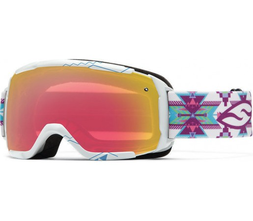 Ochelari Schi si Snowboard Smith Grom White Arrowhead/ Red Sensor mirror