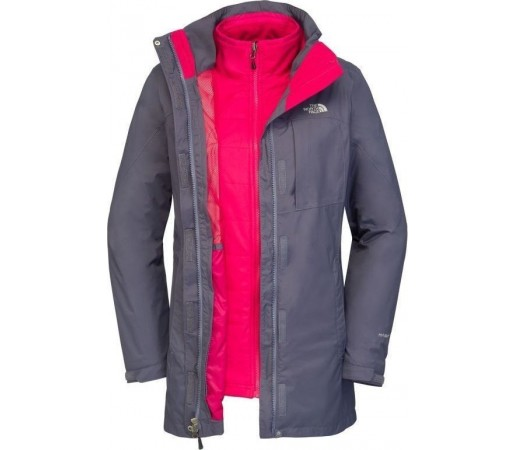 Geaca The North Face W Solaris Triclimate Parka Greystone Blue/Pink