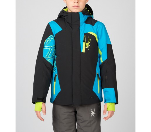 Geaca Schi si Snowboard Spyder Boys Challenger Negru/Albastru/Verde