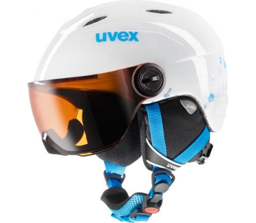 Casca Schi si Snowboard Uvex Junior Visor Alba