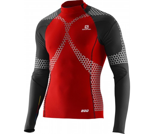 Bluza Compresie Salomon Exo Jersey M Red- Black