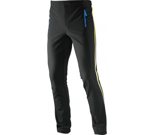 Pantaloni Salomon Momentum Softshell FZ M Black- Blue- Yellow