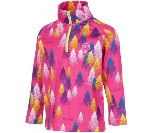 Midlayer Rossignol Kid 1/2 Zip Warm Stretch Trees Pink