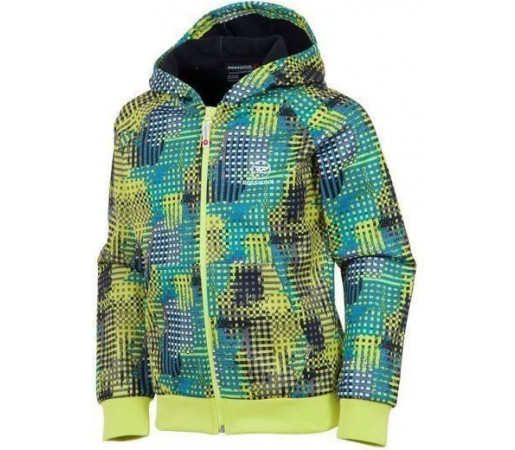 Midlayer Rossignol Boy Bonded Fleece Hooded Grid Cyan