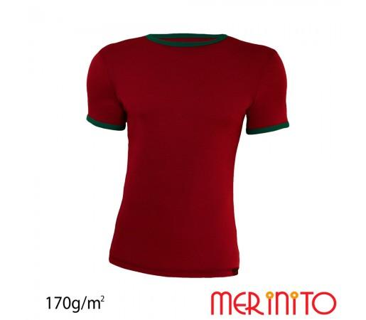 Tricou Merinito Barbati Visiniu/ Verde Comando