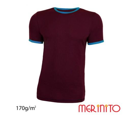 Tricou Barbati Merinito Visiniu/ Albastru