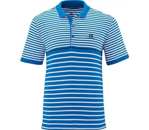 Tricou Salomon Stripe Polo M Blue