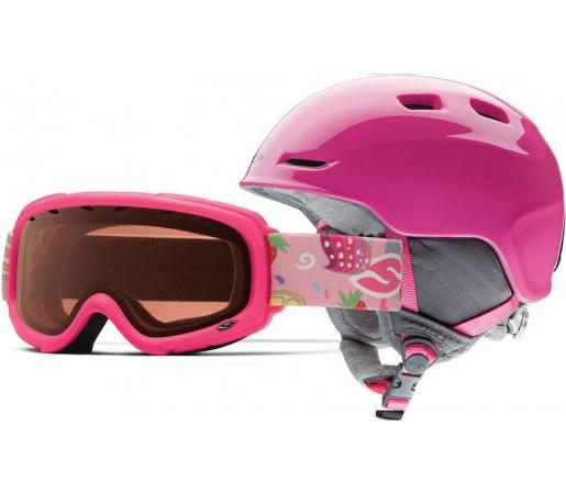 Casca Schi si Snowboard Smith Zoom JR / Gambler Bright Pink Cupcakes