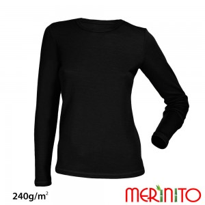 Bluza First Layer Dama Merinito 240g/mp Neagra