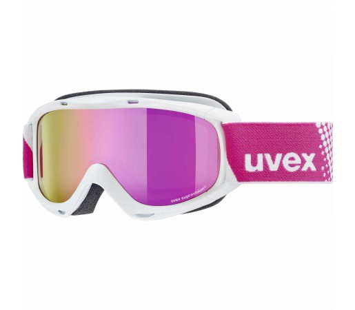 Ochelari Ski si Snowboard Copii Uvex Slider FM White Mirror Pink Lasergold Lite