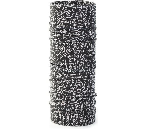 Neck Tube Bars Black Black- White Print