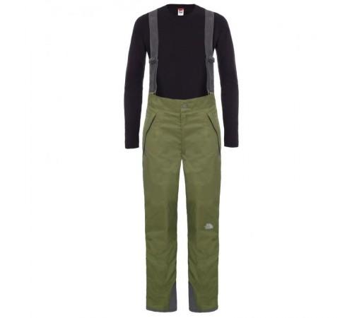 Pantaloni The North Face B Snowquest Suspender Verde/Negru