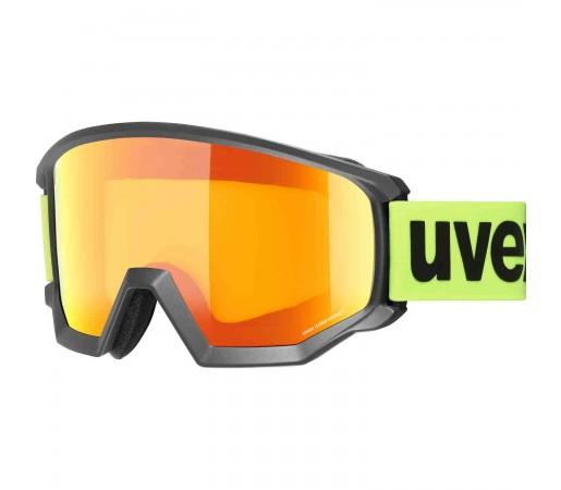 Ochelari Ski si Snowboard Unisex Uvex Athletic CV OTG Black Mat Mirror Orange Yellow