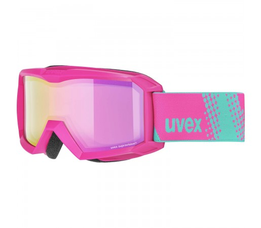 Ochelari Ski si Snowboard Copii Uvex Flizz FM Pink Mirror Pink Clear Rose