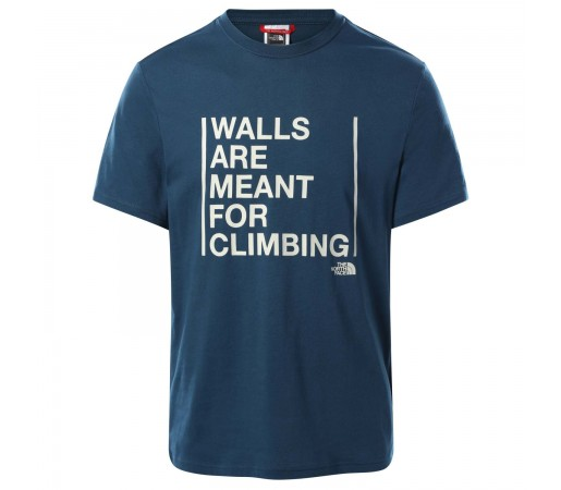 Tricou Casual Barbati The North Face S/S Walls Climb Tee Albastru