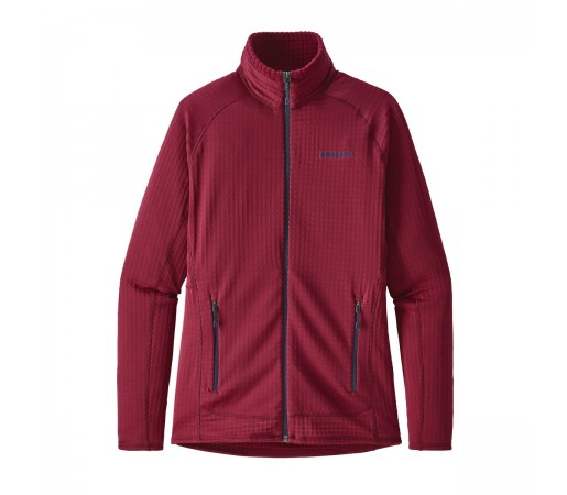 Bluza Mid-Layer Femei Hiking Patagonia R1 Full Zip Rosu
