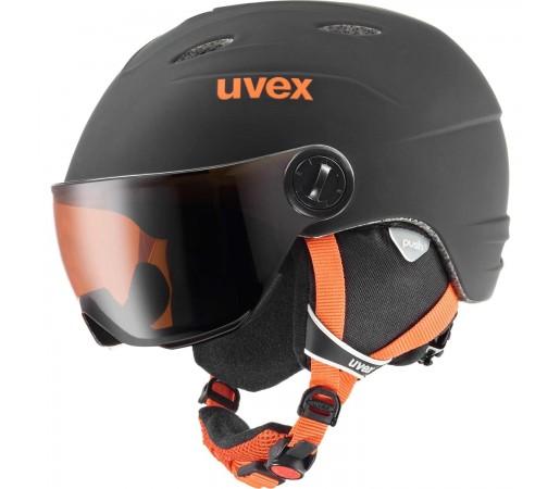 Casca Ski si Snowboard Copii Uvex Junior Visor Pro Black Orange Mat (Negru)