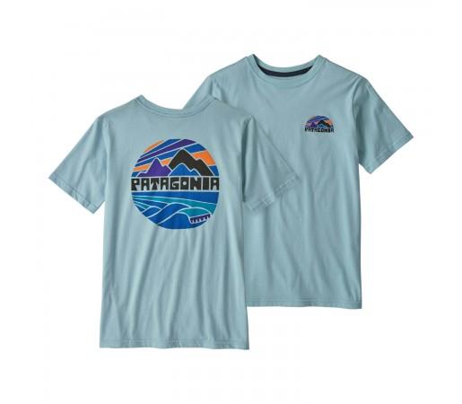 Tricou Drumetie Copii Patagonia Boys' Graphic Organic T-Shirt Fitz Roy Rights: Big Sky Blue (Albastru)