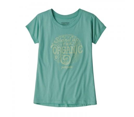 Tricou Drumetie Copii Patagonia Girls' Graphic Organic T-Shirt Light Beryl Green (Verde)