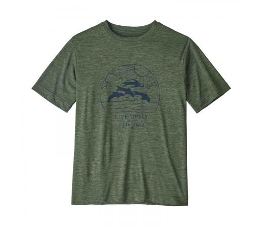 Tricou Drumetie Copii Patagonia Boys' Capilene Cool Daily T-Shirt Kale Green X-Dye (Verde)