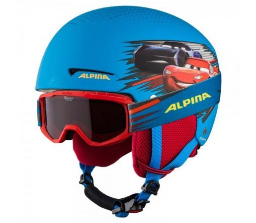 Casca si Ochelari Ski Copii Alpina Zupo Disney Cars Multicolor