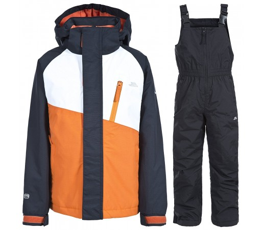 Set schi Trespass Crawley Carrot Kids Negru/ Portocaliu/ Alb