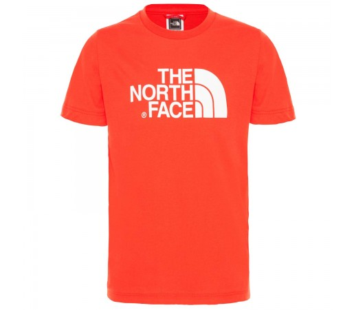 Tricou Drumetie Copii The North Face Youth Short Sleeve Easy Tee Fiery Red/Tnf White (Rosu)