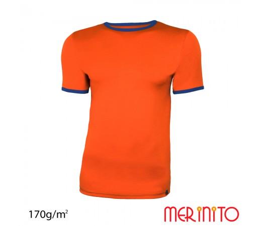 Tricou Merinito Barbati Portocaliu/ Albastru