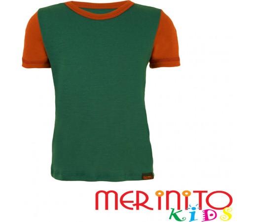 Tricou copii Merinito maneca scurta Verde/Portocaliu