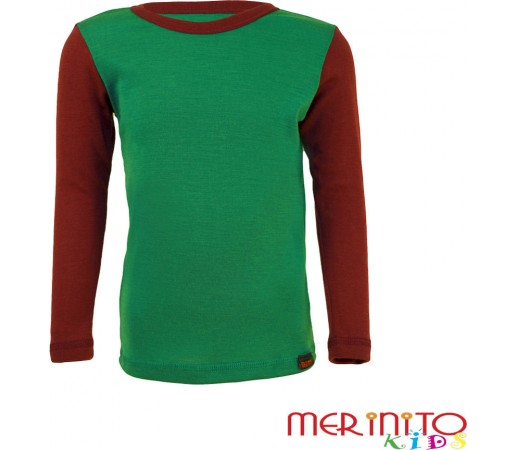 Tricou copii Merinito maneca lunga Verde/Mov