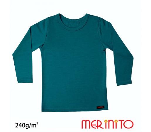 Bluza Copii Merinito 240G Lana Merinos Si Bambus Albastru
