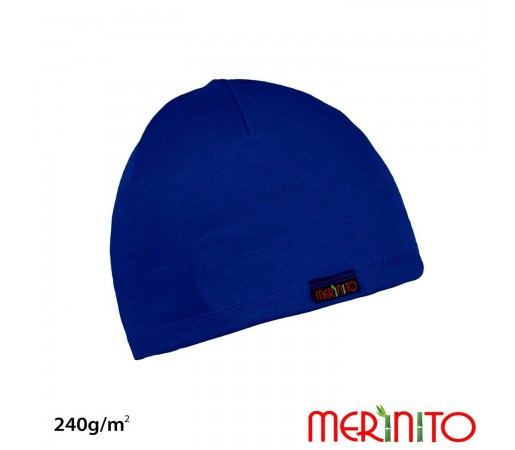 Caciula Copii Merinito 240G Lana Merinos Si Bambus Albastru