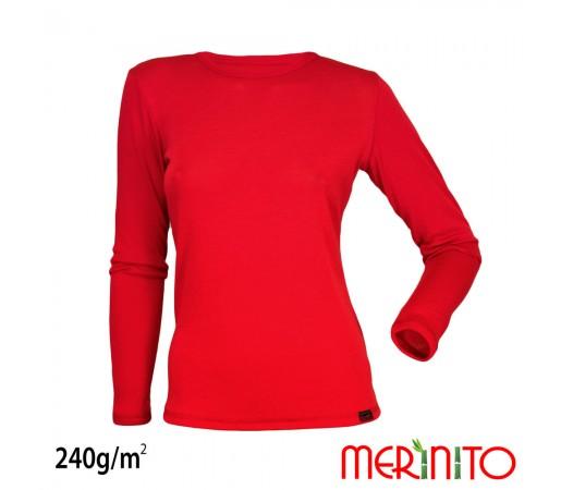 Tricou Merinito Merinos + Bambus 240g W Rosu