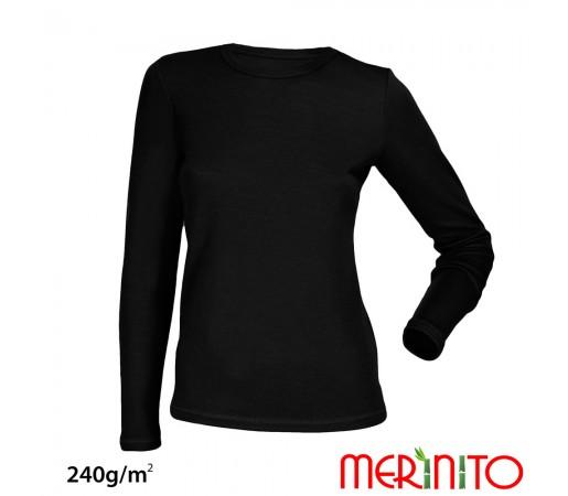 Bluza First Layer Dama Merinito 240g/mp Neagra
