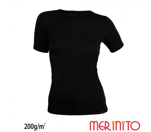 Tricou First Layer Dama Merinito 200g/mp Negru