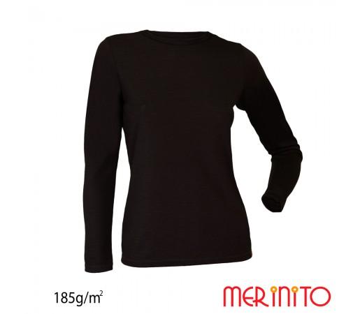 Bluza First Layer Dama Merinito 185g/mp Neagra