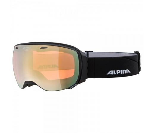 Ochelari Ski Si Snowboard Unisex Alpina Big Horn QHM Black Matt/Gold Saphire Negru