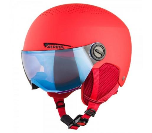Casca Ski Si Snowboard Copii Alpina Zupo Visor Red Matt Rosu