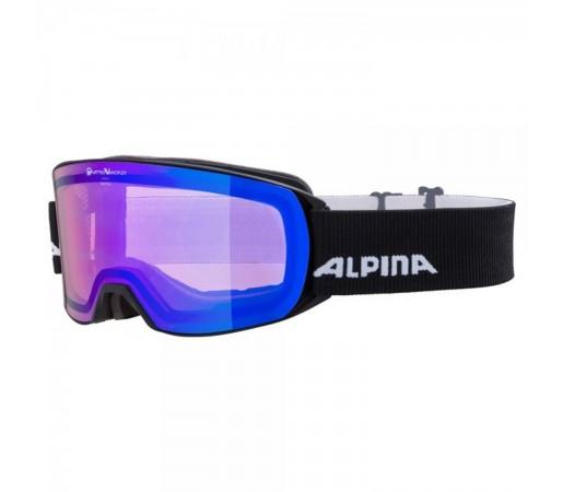 Ochelari Ski Si Snowboard Unisex Alpina Nakiska QVMM Black Matt/Blue Sapphire Negru
