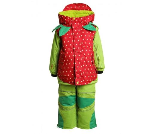 Costum Schi si Snowboard Flashy Stars Strawberry K Verde Rosu