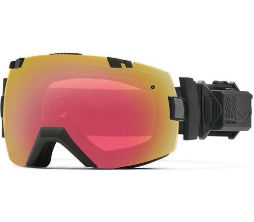 Ochelari Schi si Snowboard Smith I/OX Turbo Fan Black / Red Sensor mirror