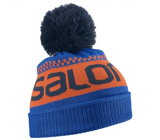 Caciula Salomon Junior Logo Beanie Albastra/ Portocalie