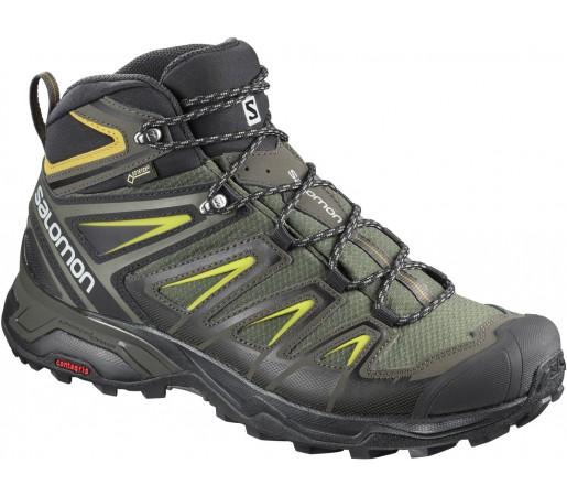 Ghete Barbati Hiking Salomon X Ultra 3 Mid GTX Verde / Negru / Galben