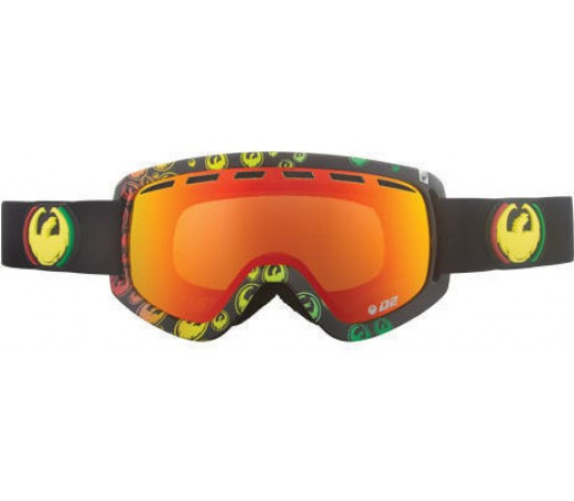 Ochelari Ski DRAGON D2 Rasta Icon Red Ionized / Amber